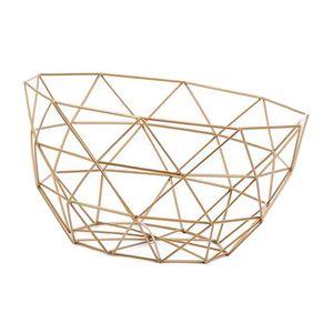 Geometrischer Metalldraht Dekorativer Aufbewahrungskorb Tisch Obstschale L Golden