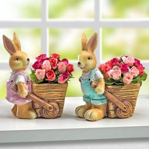 Blumentopf »Hasenpaar«, 2tlg.