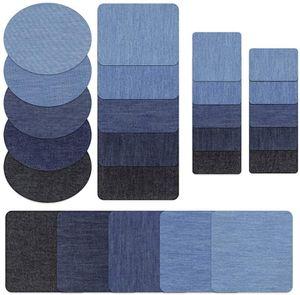 25-teilig Patches zum aufbügeln in 5 Farben Baumwolle Flicken Bügelflicken Bügeleisen Denim Patches Jeans Reparatursatz Set Aufbügelflicken (5 Größe)