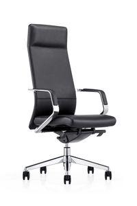 SalesFever Bürostuhl mit Armlehnen | Bezug Echtleder | Gestell Aluminium | höhenverstellbar | B 60 x T 62 x H 117 cm | schwarz
