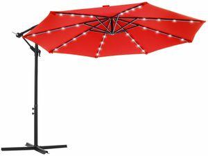 SONGMICS Sonnenschirm mit LED-Solar-Beleuchtung, Ø 300 cm, 32 LED-Lämpchen, UV-Schutz bis UPF 50+, Ampelschirm, Gartenschirm, mit Ständer, mit Kurbel, rot GPU018R01