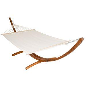 tectake Hängematte XXL mit Holzgestell für 2 Personen - weiß