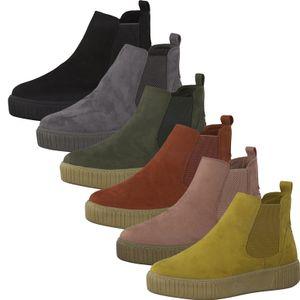 MARCO TOZZI Damen Chelsea Boots Stiefeletten Velouroptik 2-25454-35, Größe:38 EU, Farbe:Gelb