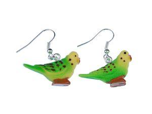 Wellensittich Ohrringe Miniblings Hänger Haustier Vogel Sittich Kunststoff grün