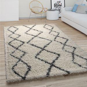 Hochflor Teppich Wohnzimmer Shaggy Langflor Boho Skandi Rauten Muster Creme Grau, Grösse:160x220 cm