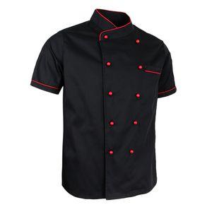 kochjacke uniform kurzarm hotelküche chefwear kochmantel 2xl schwarz Größe 2XL Farbe Schwarz