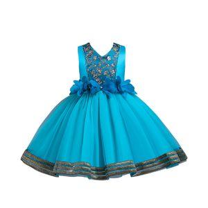 Weibliche Baby-Blumen-Tutu Formale Hochzeit Prinzessin Brautjungfer Prinzessin Kleid,Farbe:Blauer See,Größe:150(9-10T)