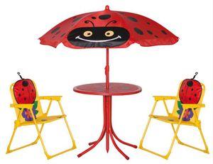 Siena Garden 672618 Marie Marienkäfer Kinderset Käfer 2 x Klapp-Sessel, 1 x Tisch, 1 x Schirm