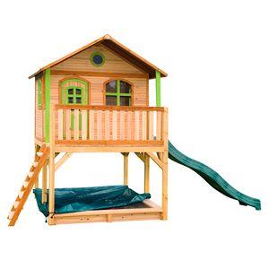 AXI Spielhaus Marc mit Sandkasten & grüner Rutsche | Stelzenhaus in Braun & Grün ausHolz für Kinder | Spielturm mit Wellenrutsche für den Garten