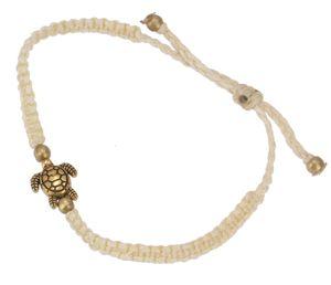 Ethno Schildkröten Perlenarmband, Makramee Armband - Creme, Armreifen & Armbänder Modeschmuck