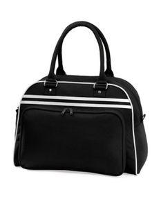 Retro Bowling Tasche | 44 x 31 x 25 cm - Farbe: Black/White - Größe: 44 x 31 x 25 cm