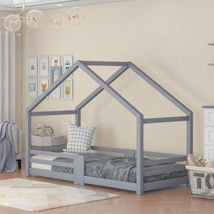 Kinderbett Hausbett mit Schornstein Rausfallschutz Robuste Lattenroste Kiefernholz Haus Bett for 5 -10 Jahre Kids, 90 x 200 cm ohne Matratze, Grau