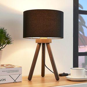 Lindby Tischlampe 'Majken' Holz-Tischleuchte Nachttischlampe Holz Skandinavisch