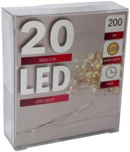 20er LED Drahtlichterkette Batterie Timer warmweiß Wasser biegsam