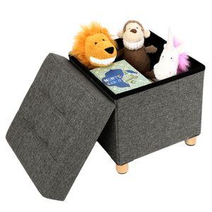 SONGMICS Sitztruhe mit Stauraum und Deckel | Fußhocker mit Holzfüßen | Sitzhocker 38 x 40 x 38 cm| dunkelgrau LSF14GYZ