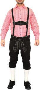 German Wear, Trachten Lederhose Kniebundhose trachtenhose mit Hosenträger schwarz, Größe:48/S
