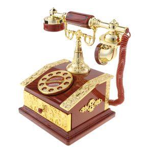 Klassische Dia Telefon Spieluhr Desktop Schmuckkästchen Dekoration Farbe Braun