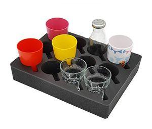 SCHAUMEX ® Premium Model 2020 - Tassenhalter Glashalter Gläserhalter Becherhalter - Platz für 12 Stück - Schaumstoff für Camping Wohnwagen Wohnmo