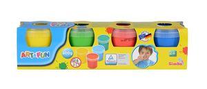 Simba 106334998 - Art & Fun Fingermalfarben, 4x Dosen/Farben 4006592649982