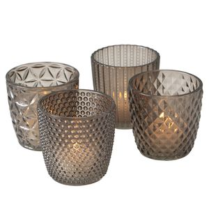 Windlicht-Set Marilu 4 tlg. Deko H 8 cm Glas lackiert grau Teelicht-Set