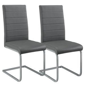 Juskys Freischwinger Schwingstuhl Vegas 2er Set – Esszimmerstuhl mit Metall-Gestell & Bezug aus Kunstleder – Moderner Küchenstuhl in Grau