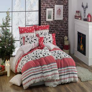 Style Heim  Biber Bettwäsche  Set  200x200 cm mit 2 Kissenbezüge 80x80 cm  Flanell aus 100% Baumwolle 3 Teilige Bettgarnitur
