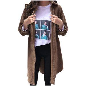 Frauen Winter Cord Damen Damen Turn-Down Kragen Mantel Outwear lange Strickjacke Größe:XXL,Farbe:Ocker