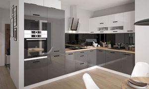 Küchenzeile 318x210cm weiß / weiß - graphit Acryl Hochglanz Küchenblock Modern Küche komplett