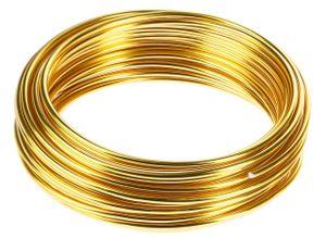 10m Meter Basteldraht 3mm, Schmuckdraht Aludraht Dekodraht Aluminiumdraht rostfreier Draht in Gold