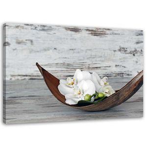Leinwandbild, Weiße Orchidee Blumen (P_1551), 100x70 cm