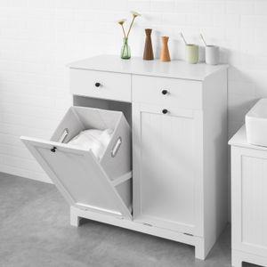 SoBuy BZR33-W Wäscheschrank mit 2 ausklappbaren Wäschesäcken Wäschetruhe Wäschesammler mit 2 Schubladen Badschrank weiß