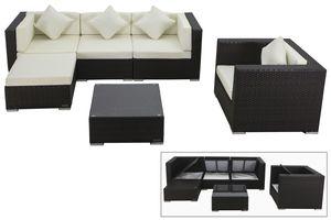 OUTFLEXX Loungemöbel-Set, braun, Polyrattan, für 5 Personen, inkl. Kaffeetisch, wasserfeste Kissenbox