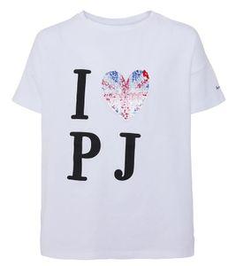 Pepe Jeans T-Shirt Kamila trendiges Kinder Freizeit-Shirt mit Pailletten-Druck in London Flagge Weiß, Größe:110