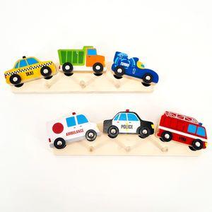 2er Set Bunte Kinder-Garderobe Holz Hakenleiste Kinderzimmer Wand Haken Autos