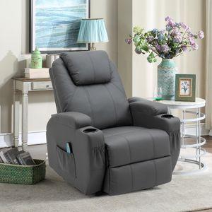 Massagesessel Fernsehsessel Relaxsessel Wärmefunktion 360°drehbar Polstersessel, Farbe: Grau