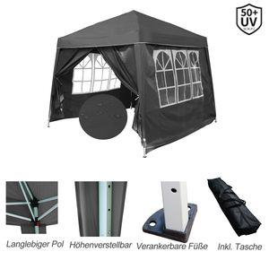 Pavillon Capri 3x3m Faltpavillon Wasserdicht Pop-Up inkl. Tasche mit 4 Seitenteile Gartenzelt Partyzelt, Farbe: Grau