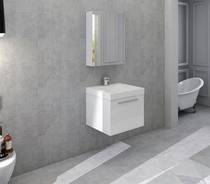 SalesFever Badezimmer Set 50 cm | 2-tlg. in Hochglanz | inkl. Waschtisch mit Mineralgussbecken | B 151 x T 47,5 x H 75 cm | weiß