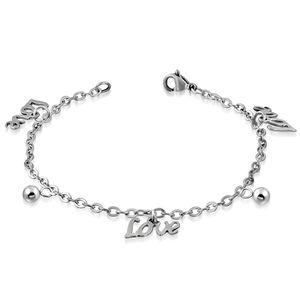 Bettelarmband Love Silber aus Edelstahl Damen