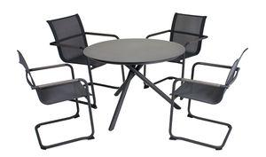 5-teilige Sitzgruppe Tischgruppe Gartengarnitur Freischwinger Stuhl Tisch