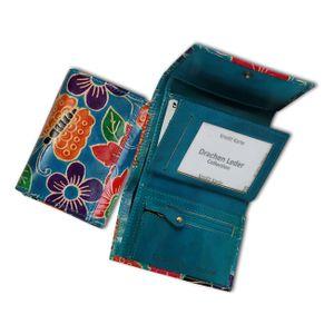 DrachenLeder Blumen Damen Portemonnaie blau türkis Geldbörse  OPS109F