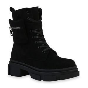 Mytrendshoe Damen Schnürstiefeletten Stiefeletten Blockabsatz Schnür-Schuhe 835769, Farbe: Schwarz Velours, Größe: 38