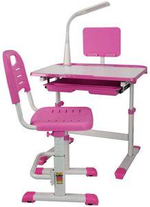 Schreibtische Jugendschreibtisch Set Schreibtisch mit LED Lampe und Stuhl quadratischer Tabelle Stabile Konstruktion Tisch Höhenverstellbar für Hause multifunktional Pink