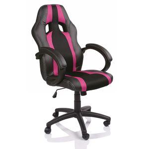 TRESKO Racing Chefsessel Bürostuhl Drehstuhl Gaming Stuhl gestreift, Gepolsterte Armlehnen, Wippmechanik, Lift S Pink
