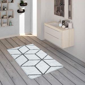 Badematte Mit Rauten-Muster, Kurzflor-Teppich Für Badezimmer In Anthrazit Weiß, Grösse:60x100 cm