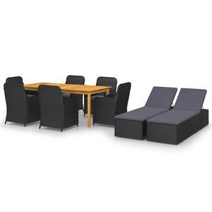 Gartenmöbel Essgruppe 8 Personen ,9-TLG. Terrassenmöbel Balkonset Sitzgruppe: Tisch mit 8 Stühle Schwarz❀4860