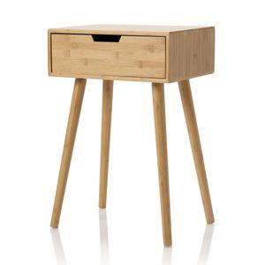 """Möbelfreude Nachtkonsole """"Tjark"""", edler Nachttisch in skandinavischem Design, Bambus mit Schublade, 40x30x60 cm"""