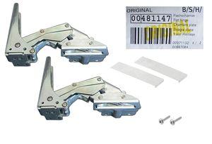 Flachscharnier-Set 6tlg. 00481147 - Kühlschrank-Scharnier Reparatur-Satz - Freilauf oben/unten (2 Stk + Ersatz-Zubehör)