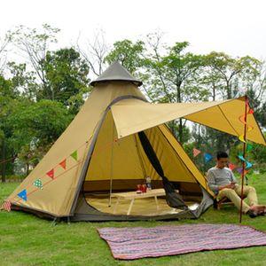 Campingzelt Familienzelt 4 - 8 Personen Kuppelzelt Wasserdicht UV-Schutz Zweischicht Indian Style Tipi Zelt Gelb