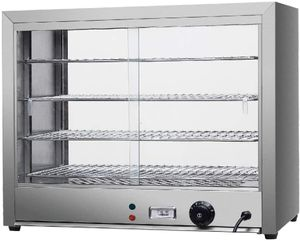 800W Warmhaltevitrine 4 Etagen Heiße Theke Speisenwärmer Warmhaltetheke 30-85°C