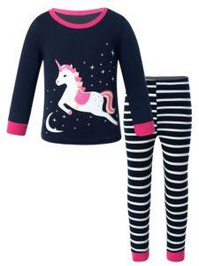 IEFIEL Süßes Mädchen Zweiteiliger Schlafanzug Baumwolle Einhorn Drucken Langarm Pyjama Set,Marineblau,Gr.122-128